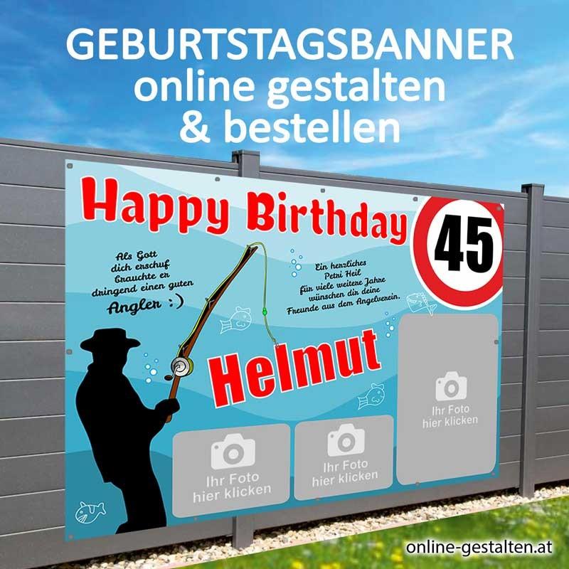 Banner Geburtstag, Geburtstagsbanner, Banner zum Geburtstag, Transparent zum Geburtstag, Geburtstagstransparent, Fischer