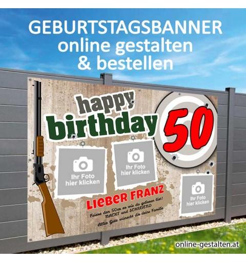 Banner Geburtstag, Geburtstagsbanner, Banner zum Geburtstag, Transparent zum Geburtstag, Geburtstagstransparent, Jäger