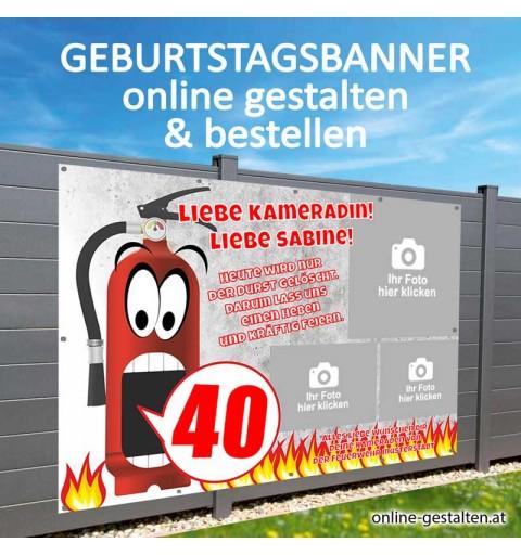 Geburtstagsbanner, Banner Geburtstag Feuerwehr, Feuerwehrbanner, Banner Feuerwehr