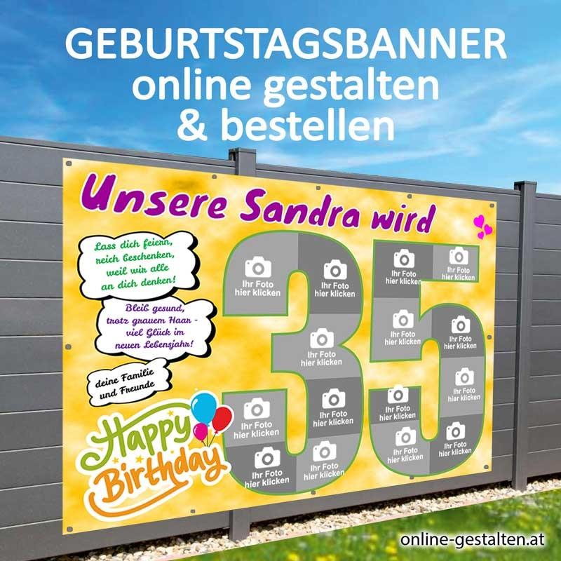 Banner Geburtstag, Geburtstagsbanner, Transparent zum Geburtstag, Geburtstagstransparent, Plakat Geburtstag, 35 Geburtstag