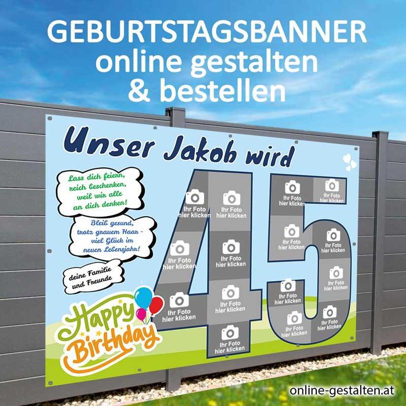 Banner Geburtstag, Geburtstagsbanner, Transparent zum Geburtstag, Geburtstagstransparent, Plakat Geburtstag, 45 Geburtstag