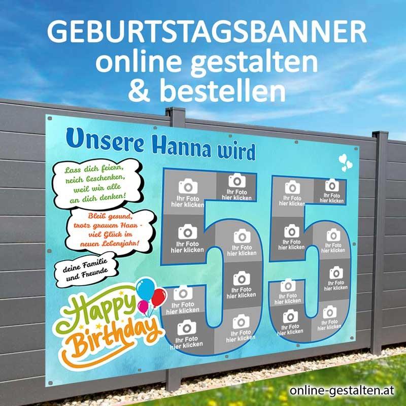 Banner Geburtstag, Geburtstagsbanner, Transparent zum Geburtstag, Geburtstagstransparent, Plakat Geburtstag, 55 Geburtstag